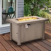 """Outsunny 42"""" 30,000 BTU Outdoor Patio Backyard Gas Fire Pit Table With Beautiful Slate Tabletop & Wicker Design - Grey"""
