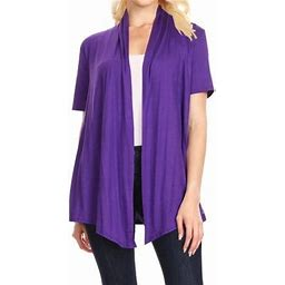 Women's Casual Short Sleeve Basic Open Front Solid Cardigan Rayon Spandex Fabric Made In USA, Size: Large, Purple