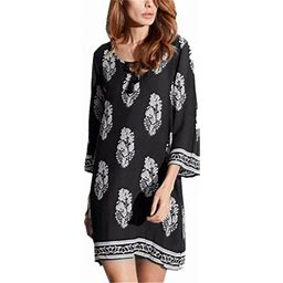 Zanzea Women Floral 3/4 Sleeve Ethnic Retro V Neck Tassel Loose Short Mini Dress, Women's, Size: Medium, Black