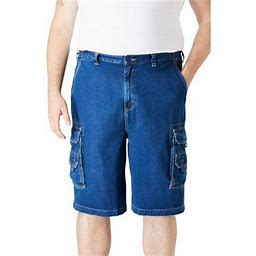 Boulder Creek By Kingsize Men's Big & Tall 12 Inch Denim Cargo Shorts, Size: Big - 46, Gray