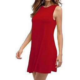Vista Women's Sleeveless Dresses Summer Casual Loose Plus Size Solid Color Pleated Cotton Dress, Size: Large, Red