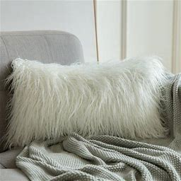 One Opening Cushion Cover Secoration Plush Luxury Series Artificial Wool Cushion Bedroom Sofa Decoration, Size: 3050cm, White