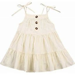 Suanret Toddler Baby Girls Sleeveless Solid Button Dress Beach Dress Clothes, Infant Girl's, Size: 6-12 Months, Beige