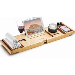 PEULEX Bathtub Tray- Bath Caddy Comes With Book, Soap Dish & Wine Glass Holder, Expandable Hot Tub Tray Designed With Premium Bamboo, For Luxurious
