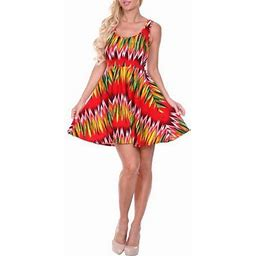 White Mark Women's Chevron Printed Fit And Flare Mini Dress Red Size:L