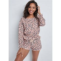 Women's Ruffle Hem Lounge Shorts Set Loungewear - Blush Multi, Size M By Venus