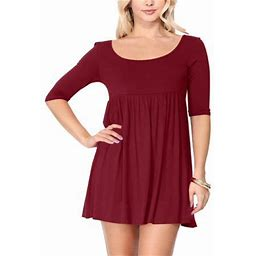 Moa Collection Women's Casual Babydoll Round Neck 3/4 Sleeve Solid Tunic Dress Made In USA, Size: 3XL, Red