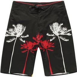 Hawaii Hangover Men's Beach Wear Board Shorts With Pocket In Black And Palm Prints, Size: 28