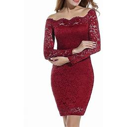 Vista Women's Off Shoulder Lace Dress Long Sleeve Bodycon Cocktail Party Wedding Dresses, Size: 2XL, Red