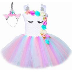 HJTT Pastel Unicorn Tutu Dress For Girls Kids Birthday Party Unicorn Costume Outfit