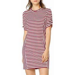 Allegra K Women's Crew Neck Short Sleeve Slim Fit Striped Shirt Dress, Size: XS, Red