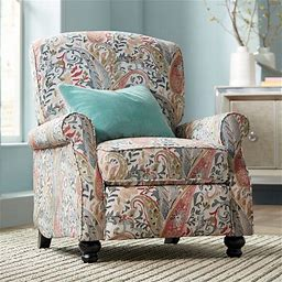 Ethel Coral Paisley Push Back Recliner Chair - Style 35M35