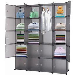 20-Cube Closet Organizer Storage Shelves, Urhomepro DIY Plastic Modular Cube Storage System Organizer Rack With Door, Cubby Closet Cabinets Shelves