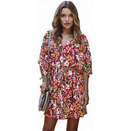 Side Women's Printing Elements Dress Waist Hugging Skirt Short Dress Lady Dress, Size: Small, Red