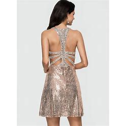 Jjshouse A-Line Scoop Neck Short Mini Sequined Homecoming Dress With Beading