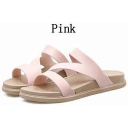 Topumt Women Summer Casual PVC Solid Color Slipper Flat Shoes Beach Sandals, Women's, Size: US 7, Pink