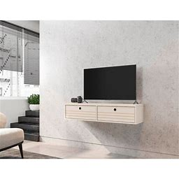 Manhattan Comfort Liberty 42.28 Mid-Century Modern Floating Entertainment Center With 2 Shelves In Off White, Size: 46, Beige