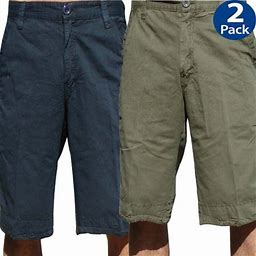 Stone Touch Jeans Stonetouch Mens Chino Shorts 2 Pcs Pack, 5FKx2, Navy / Olive_40, Men's, Blue