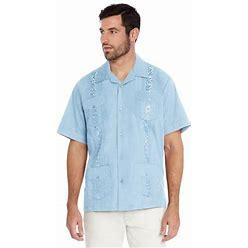 Vkwear Men's Guayabera Cuban Beach Wedding Casual Short Sleeve Dress Shirt (Light Blue, M), Size: Medium