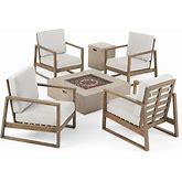 Belgian Outdoor 4 Seater Chat Set With Fire Pit By Christopher Knight Home - Gray Finish+Light Gray Cushion