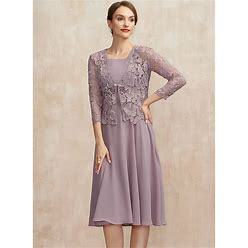 Jjshouse A-Line Square Neckline Knee-Length Chiffon Mother Of The Bride Dress