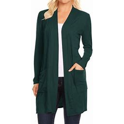 Moa Collection Women's Casual Open Front Basic Long Sleeves Loose Fit Side Pockets Solid Cardigan S-3xL, Size: Small, Green