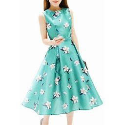BAGGUCOR Womens Elegant A-Line Dress Floral Printed Ball Gown Ladies Party Cocktail Evening Long Sleeveless Dress, Women's, Size: 2XL, Green