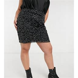 Rokoko Plus Mini Mesh Body-Conscious Skirt In Sequin Fabric Set-Black - Black (Size: 24)