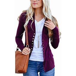 Vista Women's V-Neck Button Down Knitwear Long Sleeve Soft Basic Knit Snap Cardigan, Size: 2XL, Purple