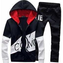 Manluo Men's Tracksuits Print Sweatsuits Slim Casual Jogging Suits Sports Hooded Black