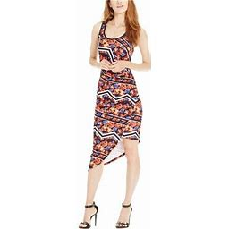 Material Girl Womens Printed Asymmetrical Hem Bodycon Dress, Women's, Size: Large, Black