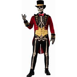 Skeleton Ringmaster Men's Costume | Adult | Mens | Black/Orange/Red | XL | Fun World