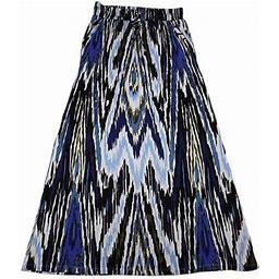 Design History Long Flowy Maxi Skirt, Ikat Onyx, XLarge, Women's, Black