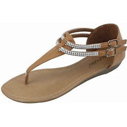 Star Bay New Women's Fashion Jewel Casual Crystal Double Buckles Strap Thong Flat Sandal Camel, Size: 9, Bronze