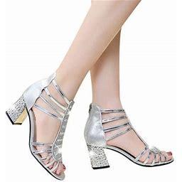 Zonghan Women Elegant Sandals Open Toe Sandals Women Fashion Crystal Decor Roman Style Thick Heel Anti-slip Zipper Open-toe Sandals Silver 24cm/9.4in-