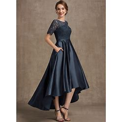 Jjshouse A-Line Scoop Neck Asymmetrical Satin Lace Mother Of The Bride Dress