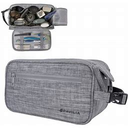 Pavilia Toiletry Bag For Men, Travel Bag For Toiletries Shaving Dopp Kit | PU Leather Hanging Large Organizer Weekender Skincare Hygiene Bag With Dual
