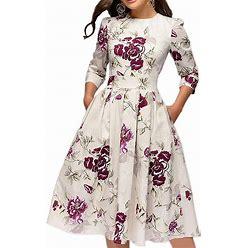 Simple Flavor Women's Floral Vintage Dress Elegant Midi Evening Dress 3/4 Sleeves