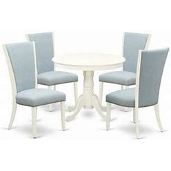 East West Furniture Antique 5-Piece Wood Dining Table Set In Linen White