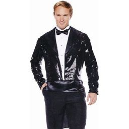 Black Sequin With Coat Tail Men's Adult Halloween Costume, Size: STD (42-46)