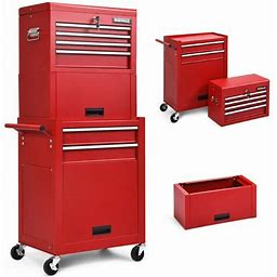 6-Drawer Tool Chest W/ Heightening Cabinet-Red