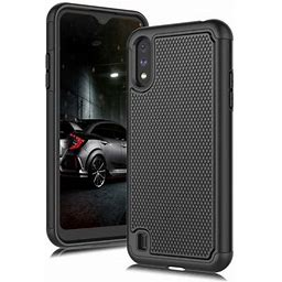 Galaxy A01 Case, Case For Samsung A01 2020, Njjex Shock Absorbing Dual Layer Silicone & Plastic Bumper Rugged Grip Hard Protective Cases Cover For