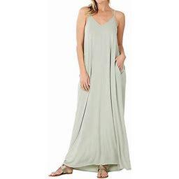 Zenana Women & Plus V-Neck Draped Jersey Beach Summer Cami Long Maxi Dress With Side Pockets (Lt Sage, XL), Women's, Green