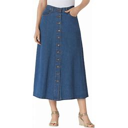 Plus Size Women's Button Front Long Denim Skirt By Woman Within In Medium Stonewash (30 Wide) | Cotton