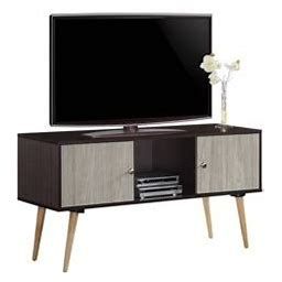Hodedah 47 Inch Wide Retro Entertainment Center, Chocolate-Grey Oak Size: 47 Inch, Gray