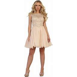 May Queen Flowy Short Homecoming Dress, Women's, Size: 12, Beige