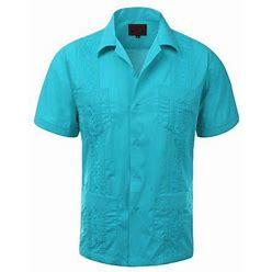 Maximos Men's Guayabera Summer Casual Cuban Beach Wedding Vacation Short Sleeve Button-Up Casual Dress Shirt Atoll Blue 2XL