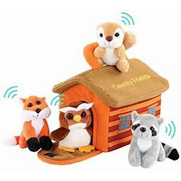 Plush Woodland Animals With Country House Carrier For Kids- 5Pc- Talking Animal Interactive Toy Set- Stuffed Owl, Racoon, Fox & Squirrel