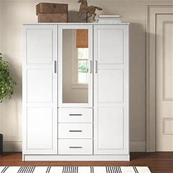 Wayfair Moira Armoire Wood In White, Size 72.0 H X 56.0 W X 21.0 D In