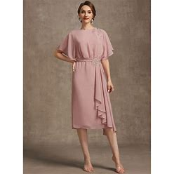 Jjshouse Sheath Column Scoop Neck Knee-Length Chiffon Mother Of The Bride Dress With Appliques Lace